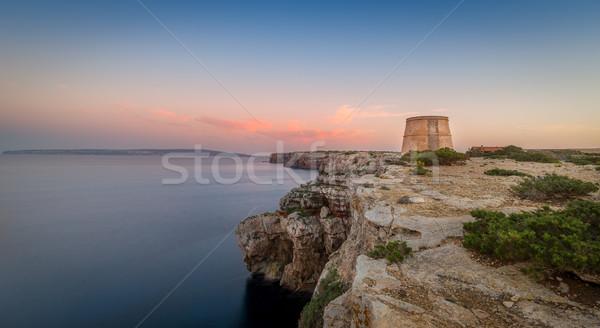 Sahil eski kule ada uzun pozlama panoramik Stok fotoğraf © Steffus