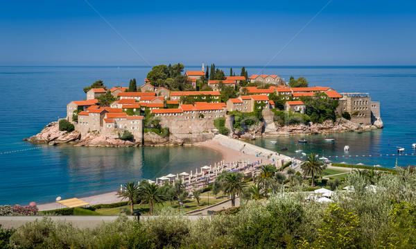 Sziget Montenegró történelmi népszerű luxus üdülőhely Stock fotó © Steffus