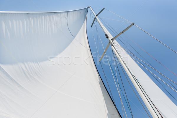Big white sail hoisted Stock photo © Steffus