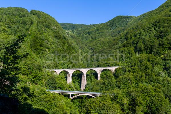 古い 石 橋 山 峡谷 モンテネグロ ストックフォト © Steffus