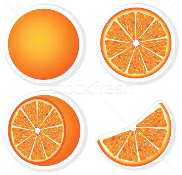 Szett friss narancs gyümölcsök szeletek természet Stock fotó © Stellis
