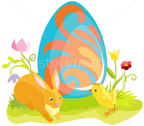 Gyönyörű húsvét kártya rajzolt nyúl tyúk Stock fotó © Stellis