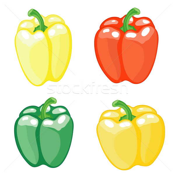 Set pepper on white background Stock photo © Stellis