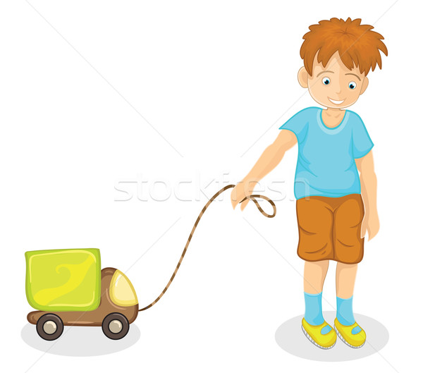 Stock fotó: Fiú · játszik · autó · vidám · fiú · zöld · tavasz
