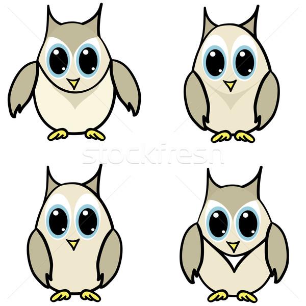 Szett kicsi baglyok négy szép arc Stock fotó © Stellis