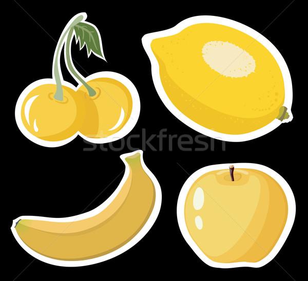 Citrom cseresznye banán alma szett négy Stock fotó © Stellis
