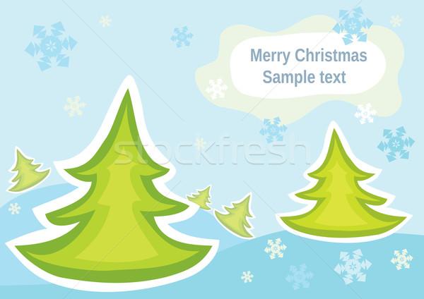 üdvözlőlap karácsony gyönyörű fenyők hó absztrakt Stock fotó © Stellis