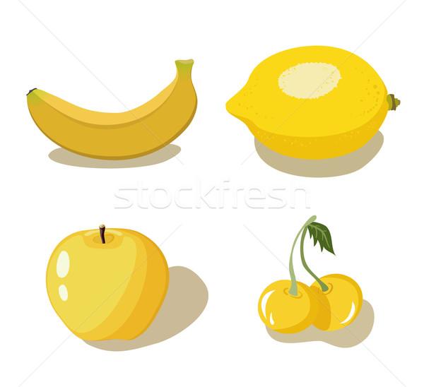 Citromsárga gyümölcsök szett négy fehér étel Stock fotó © Stellis