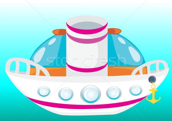 Rajz hajó csónak vektor absztrakt kék Stock fotó © Stellis