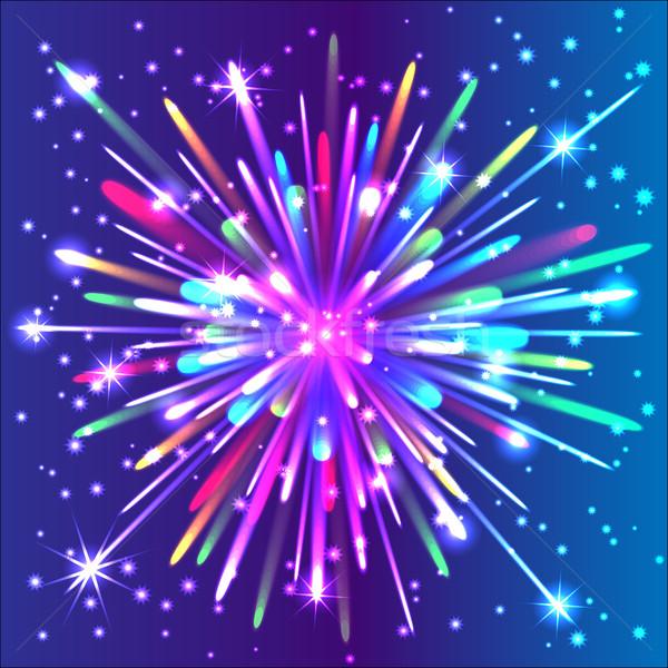 Gyönyörű izolált vektor tűzijáték boldog absztrakt Stock fotó © Stellis