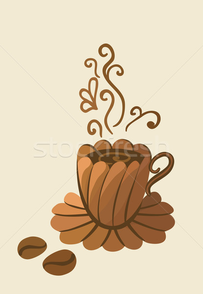 Stock fotó: Csésze · kávé · gyönyörű · forró · festmény · gőz