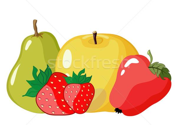 Szín gyümölcs szett almák eper körte Stock fotó © Stellis