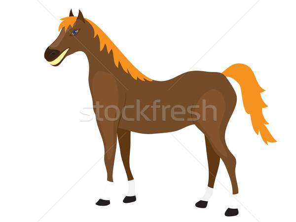 Cartoon Horse Stands Stock photo © Stellis