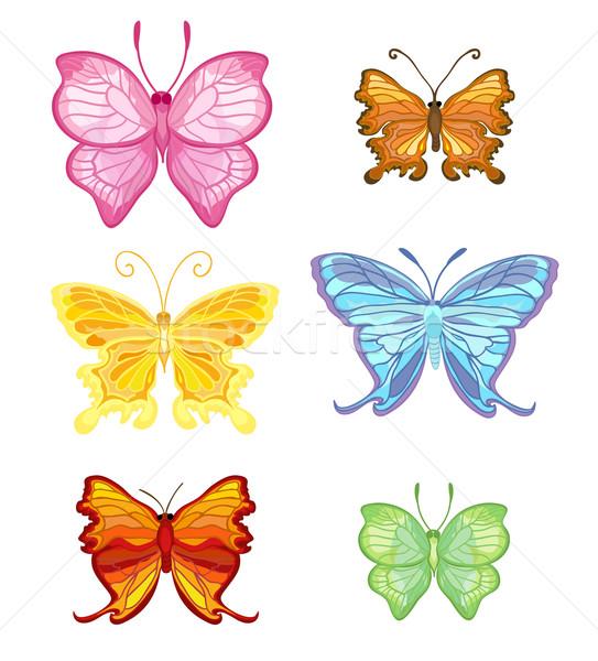 Szín pillangó hat elegáns törékeny gyönyörű Stock fotó © Stellis