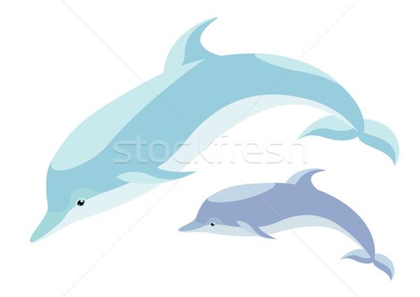 Twee dolfijnen mooie mamma welp vis Stockfoto © Stellis
