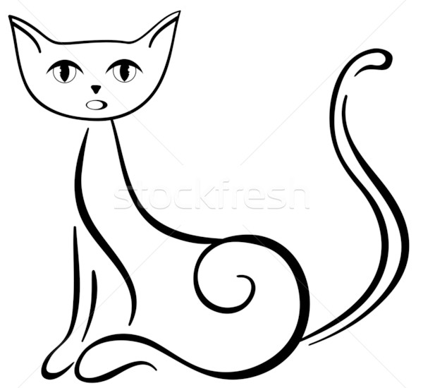 ül fekete macska gyönyörű fekete művészet fehér Stock fotó © Stellis