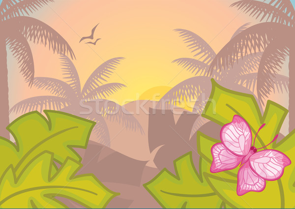 Background with tropical plants and trees. Morning. Rainforest. Stock photo © Stellis
