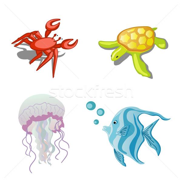 Tengeri állatok rák teknős hal meduza művészet Stock fotó © Stellis
