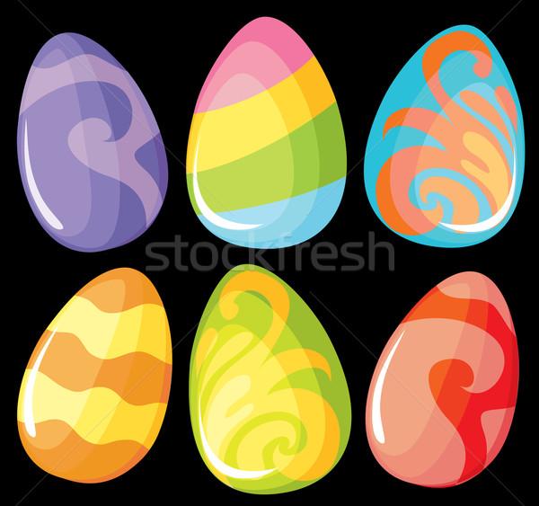 Szett szín tojások gyönyörű fekete kék Stock fotó © Stellis