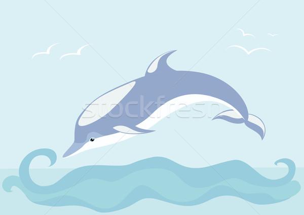 Gyönyörű delfin víz művészet kék madarak Stock fotó © Stellis