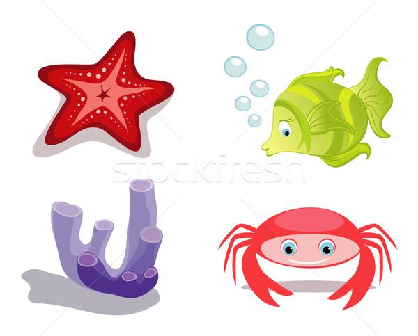 Tenger tengeri állatok hal rák tengeri csillag szivacs Stock fotó © Stellis