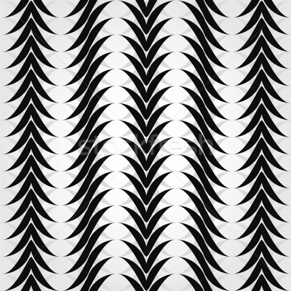 Végtelen minta feketefehér hullámok végtelenített geometrikus minta keret Stock fotó © Stellis