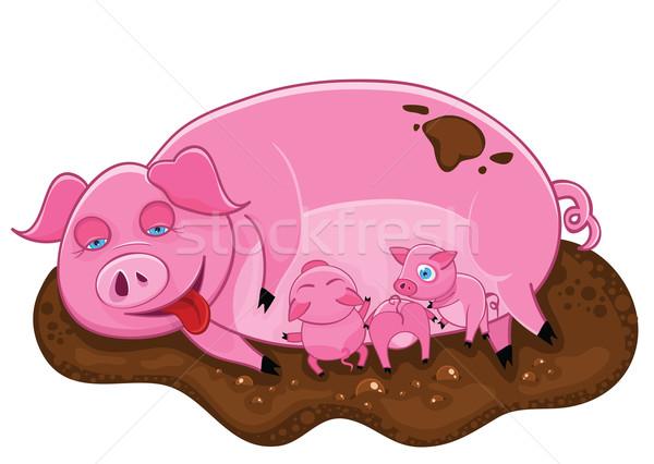 Сток-фото: розовый · свинья · Ложь · грязи · счастливым · природы