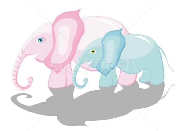 Stock fotó: Elefántok · kettő · gyönyörű · anya · gyerek · természet