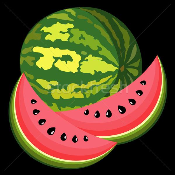 Nagy lédús görögdinnye fekete étel gyümölcs Stock fotó © Stellis