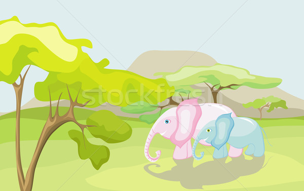 Elephants in nature Stock photo © Stellis