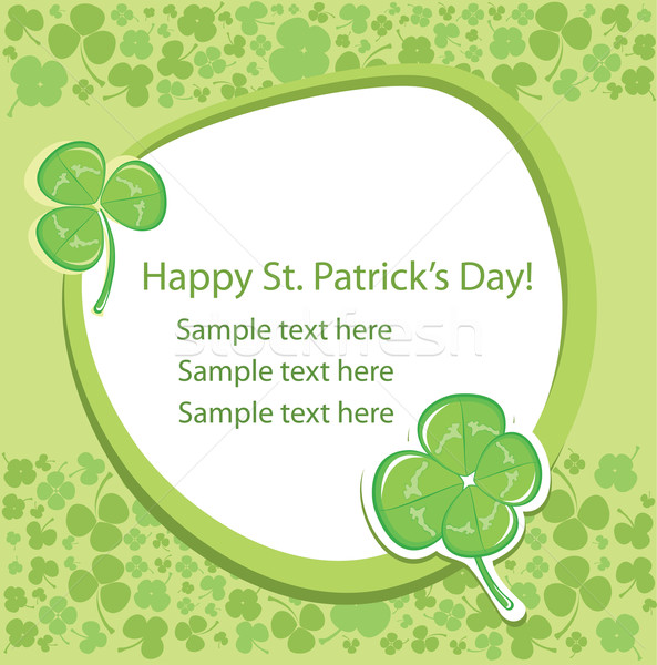 Card with green clover background. Stock photo © Stellis