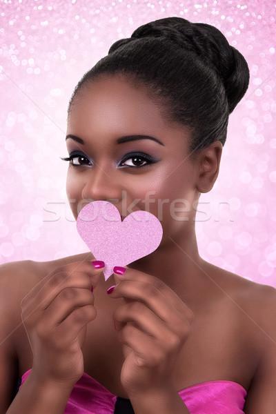 Afrika kadın kalp sevmek valentine Stok fotoğraf © Stephanie_Zieber