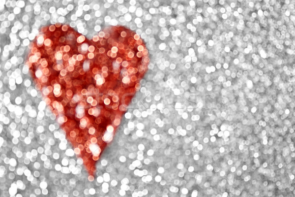 Brillo corazón plata rojo boda resumen Foto stock © Stephanie_Zieber