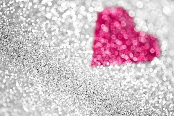 Hart schitteren liefde sneeuw lichten huwelijk Stockfoto © Stephanie_Zieber