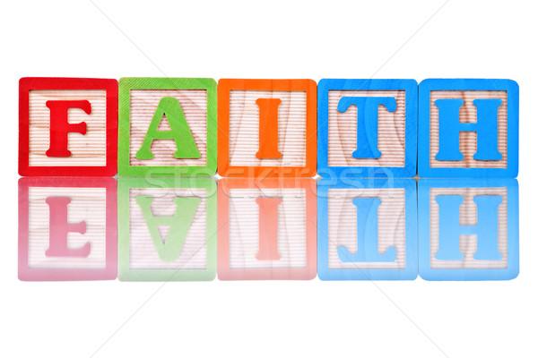 Alfabeto bloques fe nombre aislado reflexión Foto stock © Stephanie_Zieber