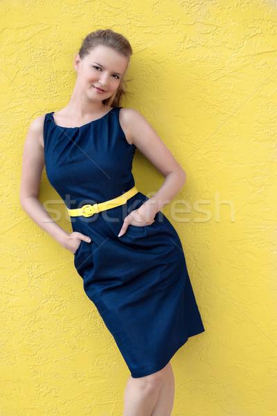 Nyár nő portré nő ruha öv kezek Stock fotó © Stephanie_Zieber