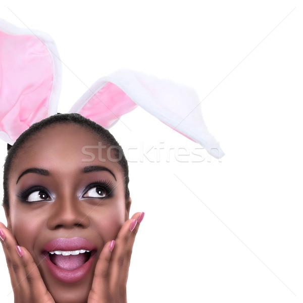 Easter bunny kulaklar kadın siyah kadın bahar Stok fotoğraf © Stephanie_Zieber
