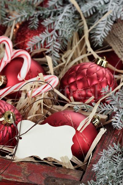 Cuadro vidrio Navidad adornos etiqueta dulces Foto stock © StephanieFrey