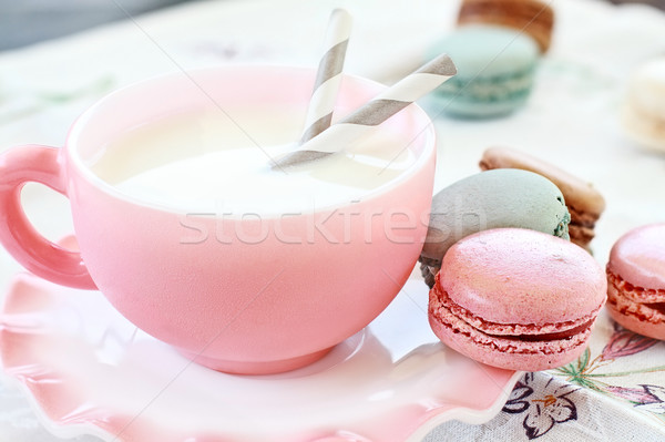 Pink Macarons and Milk Stock photo © StephanieFrey