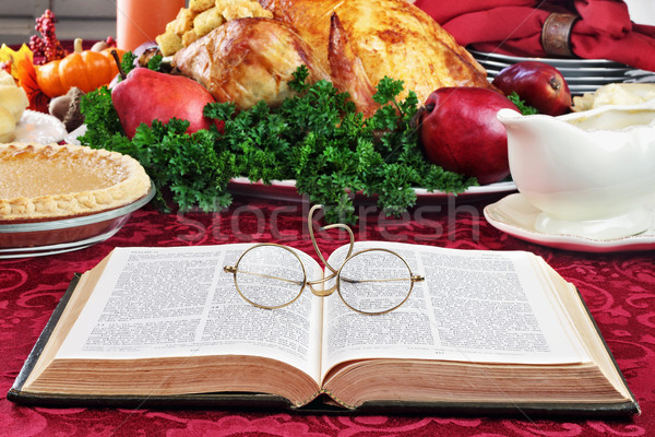Bible and Holiday Dinner Stock photo © StephanieFrey