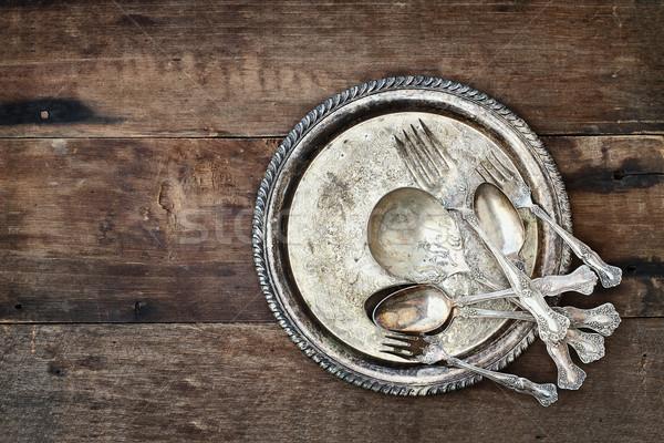 антикварная столовое серебро пластина деревенский старые Сток-фото © StephanieFrey