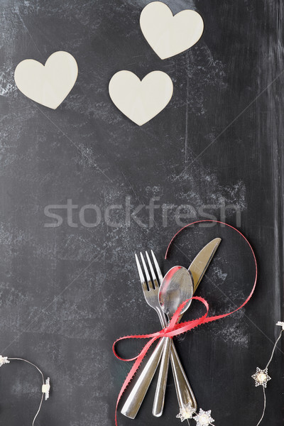 Saint valentin coutellerie coeurs tableau noir haut vue Photo stock © StephanieFrey