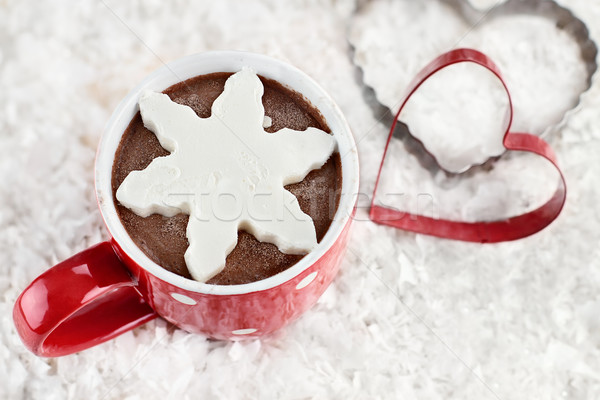 Hot Cocoa with Snowflake Shaped Whip Cream Stock photo © StephanieFrey