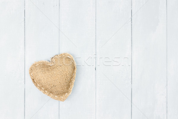 St Valentine's Day Burlap Heart Stock photo © StephanieFrey