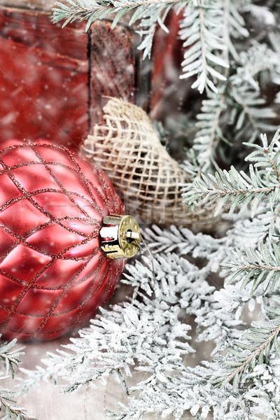 Rood christmas ornamenten ornament oude antieke Stockfoto © StephanieFrey