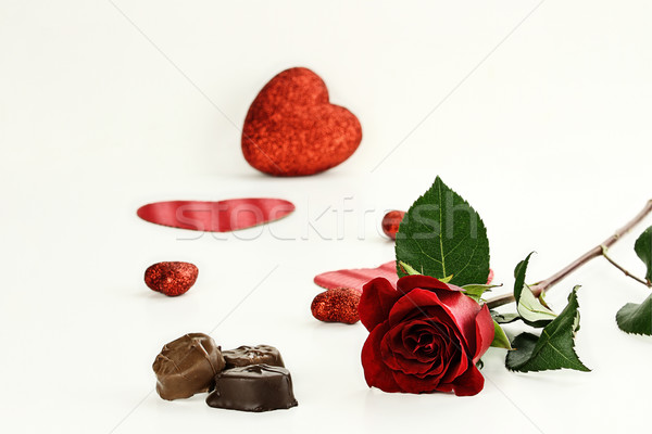 Long Stem Rose and Chocolate Candy Stock photo © StephanieFrey