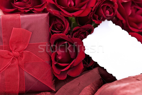 Roses, Gift and Blank Card Stock photo © StephanieFrey