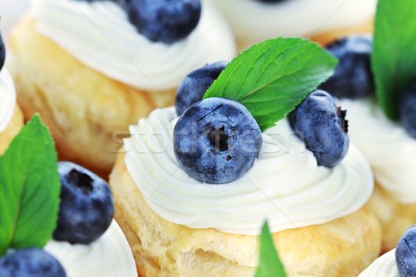 藍莓 乳蛋糕 新鮮 殼 選擇性的重點 中心 商業照片 © StephanieFrey