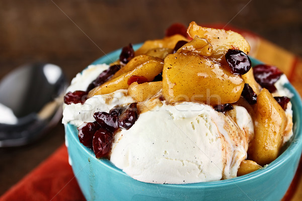 Vanilla Ice Cream with Apple Cranberry Sauce Stock photo © StephanieFrey