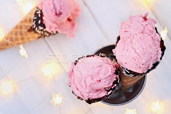 Strawberry Ice Cream Cones Stock photo © StephanieFrey